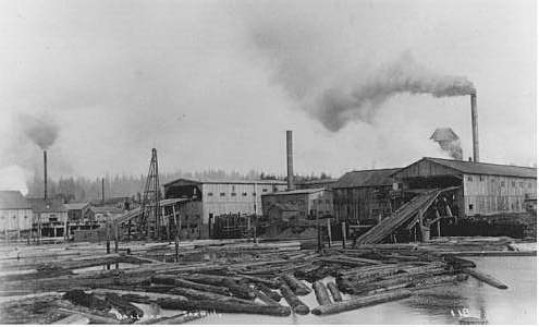 Ballard Mills from Water 1885